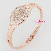 High Quality High Crystal Hinged Bracelet Bangles, Rhinestone Crystal Rose Pattern Bracelet Bangles for Wedding Watch Decoration(China)