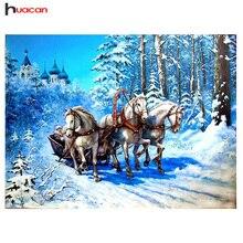 HUACAN Алмазная вышивка пейзаж 5D алмазов картина вышивки крестом лошадь картина из страз Home Decor рождественские подарки(China)