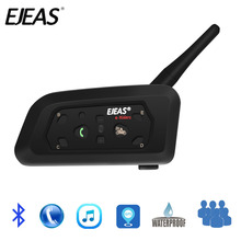 EJEAS V6 Bluetooth Motorcycle Communicator Helmet Intercom Headset with Mic 1200m Interphone for 6 Riders(China)