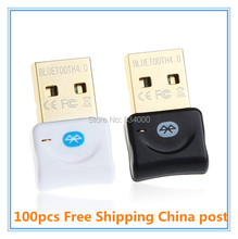 100pcs Free Shipping Bluetooth 4.0 USB Dongle Adapter for PC with Windows 10/8/7/XP/ Vista Support BT Headphones Speakers Mouse(China)