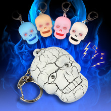 wholesale Halloween skeleton ghost head gifts wholesale LED luminous key chain flashlight mixed color