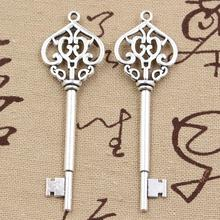 99Cents 4pcs Charms vintage skeleton key 69mm Antique Tibetan Silver Pendant Findings Accessories DIY Vintage Choker Necklace(China)