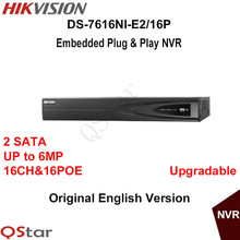 Hikvision Original English Version DS-7616NI-E2/16P 16CH POE NVR for HD IP Camera 6MP Resolution Recording