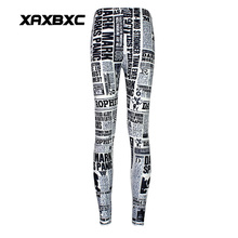 New Arrival 3509 Sexy Girl Women magic news daily newspaper 3D Prints Elastic Fitness Polyester Walking Leggings Pants