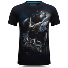 2017 New Men Wear Short Sleeved shirt Animal Pattern Under Moonlight The Cliff Wolf Hip hop Style Creative Fashion S-6XL Size(China)