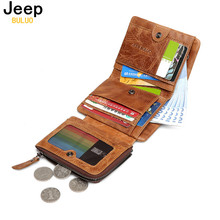 Man's Wallet JEEP BULUO New Genuine Leather RFID Blocking Fold Wallets For Men Cow Leather Short Purse Bifold Wallet Vintage(China)