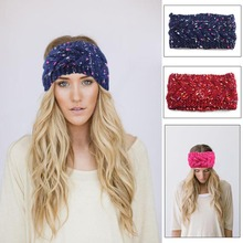 NEW Winter Crochet Headband colorful Knit hairband Flower Ear Warmer Headwrap 's hair accessories 10pcs/lot(China)