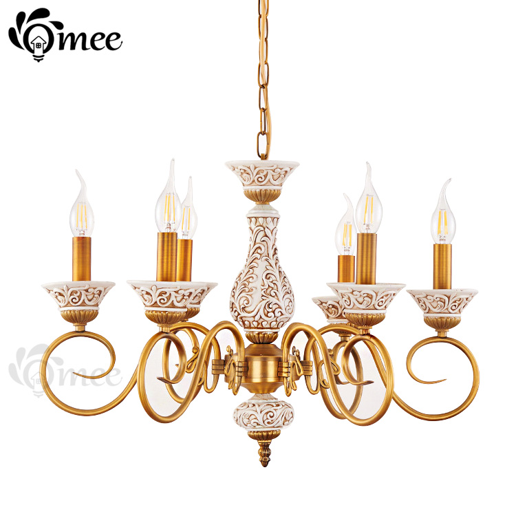 New Design Resin Chandelier Lamp Lighting Contemporary E14 LED Dining Iron Chandeliers Lights Modern Living White And Gold Body<br><br>Aliexpress