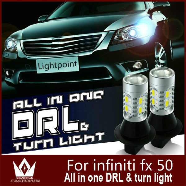 Guang Dian car led light Daytime Running Lights &amp; Front Turn Signal Light drl + switch light For infiniti fx 50 T20 7440 WY21W<br><br>Aliexpress