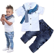 Summer boys denim clothing sets kids boys handsome short-sleeved T-shirt+denim jeans+scarf 3 pieces children clothing set(China)