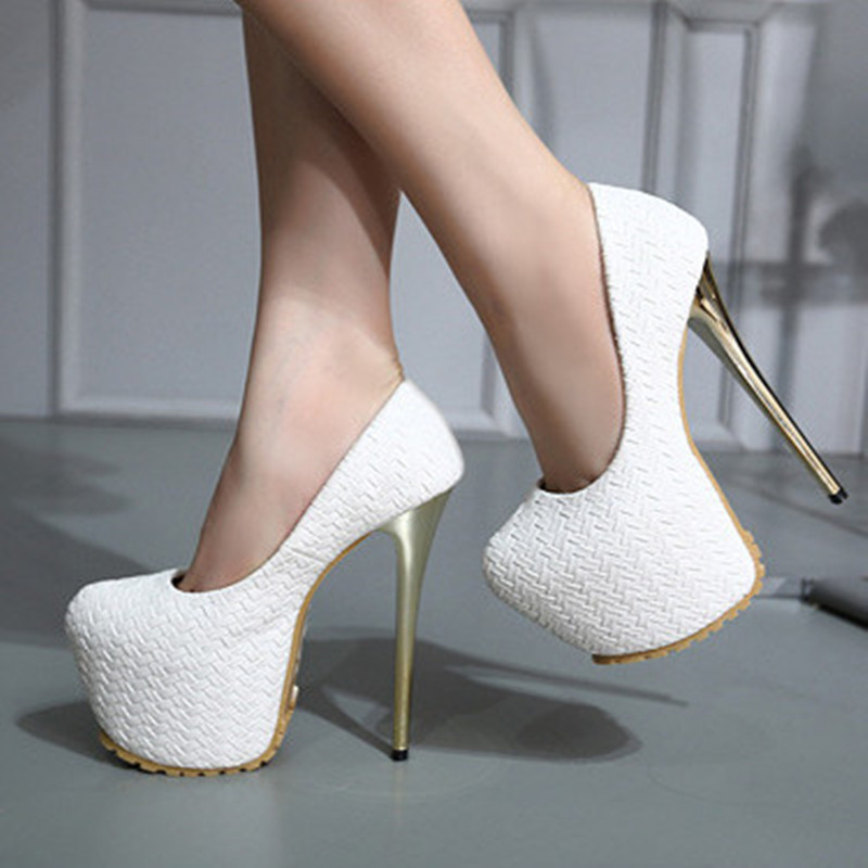 New Brand Pu Extreme High Heels Wedding Shoes Woman Pumps 16cm Sexy Women Shoes With Heels Platform Ladies Shoes Heel Metal<br><br>Aliexpress