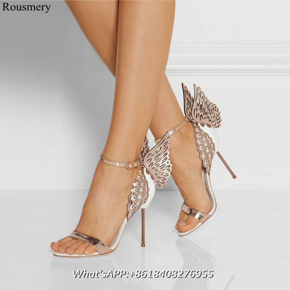 2017 Women Spring Sandals Butterfly Wing Heels Shoes Woman High Heel Buckle Strap Women Shoes Open Toe Elegant Ladies Sandals<br><br>Aliexpress