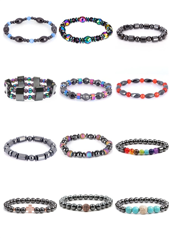 1Pc Magnetic Therapy Bracelet Round Stone Health Care Bracelets For Men Women Magnetic Hematite Stretch Bracelet 2019