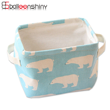 BalleenShiny Cute Animal Linen Desktop Jewelry Storage Box Kid Toys Organizer Makeup Cosmetic Stationery Container Case Basket