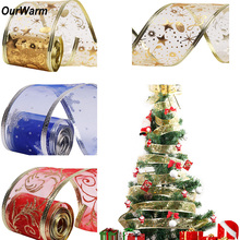 Ourwarm 2Yards Organza Ribbon Snowflake Christmas Bows for Tree Glitter Christmas Ribbons for New Year Gifts DIY Craft Supplies(China)