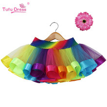 Rainbow Skirt Children Clothing Toddler Birthday Tutus Skirt Summer Cheap Tulle Skirt(China)