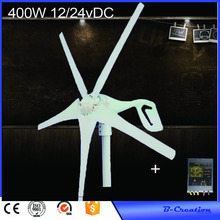 12V/24V 400W Wind Turbine Generator 5 Blades Low Wind Speed Starting Top Rated NSK Bearings& Waterproof Wind Controller