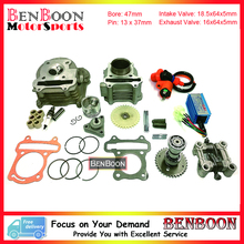 GY6 80cc 47mm Cylinder & Head Kit with Camshaft Holder Racing CDI and other accessories Chinese Scooter Parts Free Shipping