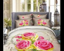 Good Quailty Fast Shipping 100 cotton  Home Textile Girls 3D Flowers Queen King Size bedding set  Quilt/Duvet Cover Sets