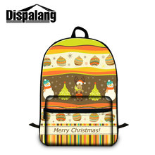 Dispalang Merry Christmas Design Laptop Backpack For Women Snowman Printed School Bookbags For Primary Students Mochila Rucksack