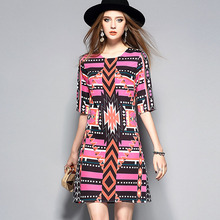Euro Style Woman Fashion Dress 2017 Summer Brand Designer Runway Dresses Elegant Ladies Half Sleeve Geometric Print Dress Casual
