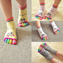 LNRRABC Woman Socks Girl Smile Face Cute Funny Five Fingers Trainer Toe Rainbow Color Ankle Socks(China)