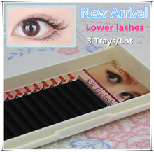 New arrival 3 trays/lot B C Curl Natural long mink lower lashes 5mm 6mm 7mm soft beauty under eyelash extension factory supplies