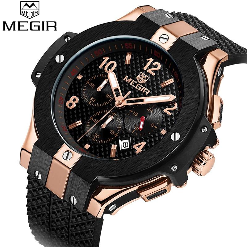 Top Brand MEGIR Mens Chronograph Sport Watch Creative Big Dial Army Military Quartz Watches Men Wrist Watch Relogio Masculino<br>