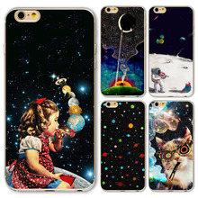 Case Cover For iphone 6plus/6splus 5.5 Inch Universe Outer Space Star Beautiful Girl Soft Sillicon Clear Phone back skin
