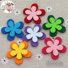 3.5CM Non-woven patches star two-double Felt Appliques for clothes Sewing Supplies diy craft ornament(China)