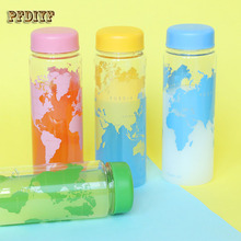 Best Quality 500mL My Water Bottle Plastic Leakproof Portable Map Pattern Water Bottle Outdoor Sports Fitness For Best Gift(China)