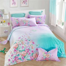 100% natural silk Angel love Flower Fairy Spring garden 4pcs girl princess comforter cover bed sheet pillowcase set gift/B3580