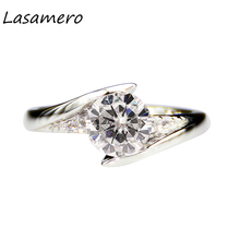 LASAMERO Round Cut 1.0ct Lab Grown Diamond Solid 14k White Gold Engagement Ring Anniversary Ring Moissanites Center Wedding Ring(China)