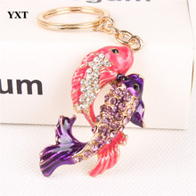 Lovely Double Carp Fish Cute Crystal Charm Purse Handbag Car Key Keyring Keychain Party Favorite Birthday Best Gift