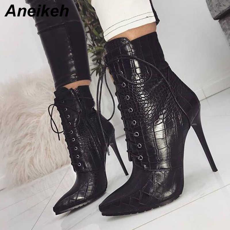 7c073f46240e Aneikeh женские демисезонные ботильоны из искусственной кожи, с острым  носком, на шнуровке,