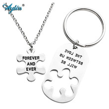 Ayliss THE LOVE BETWEEN US WILL BE/FOREVER AND EVER Puzzle BBF Friendship Keychain&Necklace Jewelry for Couples Friendship Gift