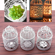 2017 NEW Bird cage hollow lace metal candlestick home decoration Decoration(China)