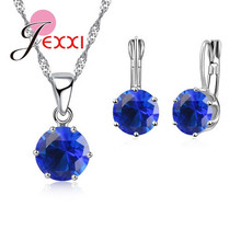 JEXXI New Fashion Round Crystal 925 Sterling Silver Jewelry Set 17 Colors for Women Grils Necklace Pendant Hoop Earrings Sets