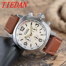TIEDAN Men's Watches Business Quartz Wrist Watch Fashion Dress Date Display Male Genuine Leather Band Luxury Analog Best Gift