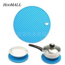 Hoomall Dia 18cm Silicone Mat Pot Holder Coaster Round Honeycomb Heat Resistant Cushion Placemat New Year Kitchen Accessories(China)