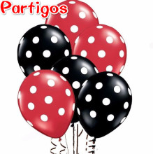 30pcs Ladybug Black Red Spot Polka dot latex balloons globos Mickey Minnie party Birthday presents balloon wedding Decorations(China)