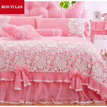 White Pink Korean Princess Bedding Set 4pcs Lace Ruffles duvet cover bedspread bed skirt bedclothes wedding king queen Gift Bag