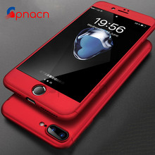 Buy 360 Degree Full Cover Red Cases iPhone 6 6s 7 8 Plus Case wish Tempered Glass Cover iphone 7 7Plus 6s 8 Phone Case Capa for $2.80 in AliExpress store
