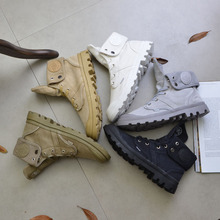 New Top Quality Canvas Men Boots Lace Up Male Palladium Canvas Shoe Ankle Botas Cowboy Motorcycle Boots Fashion Military Desert