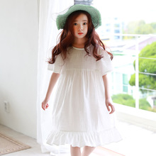 Girls Loose Dresses White Cotton Dresses For Girls Summer Dresses Children Clothing Brand Casual Sundress 4-12 Vestidos