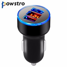 POWSTRO Universal USB Car Charger 5V 3.1A Dual USB Mobile Phone Tablet Car-charger Adapter for iPhone 8 7 6S Plus For Samsung S8(China)