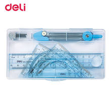 Deli Ruler Compasses Set Five Pieces a Set for Drawing Test Teaching Ruler Compasses Triangular Plate Multifunctional Set