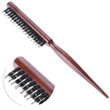 Pro Salon Hair Brush Wood Handle Fluffy Bristle Comb Dish Anti Loss Barber Hairdressing Partition Scalp Massage Hairstyling Tool(China)