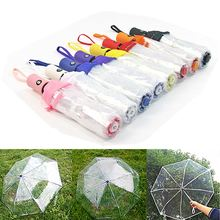 Automatic Open Close Folding Umbrella Compact Windproof Rain Sun Resistance Parasol Bumbershoot Transparent Clear Paraguas