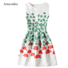 Cute Party Dress 2017 Women Leaf flower Print Embossed Back Zip Up Summer green Dresses Fashion New O Neck Draped A Line Dress